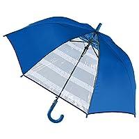 男の子 キッズ傘 55cm 子供用 ジャンプ傘 グラスファイバー ボーダー (ブルー)