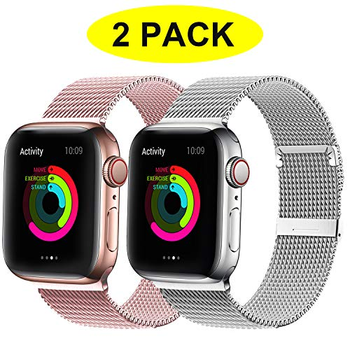 YC YANCH 2 Pack Compatible for Apple Watch Band 42mm 44mm, Adjustable Stainless Steel Mesh Metal Loop Replacement Band Compatible for iWatch Series 5/4/3/2/1 (Silver, Rose Gold)