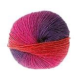 1 bola 50 g de hilo suave arcoíris, hilo de mezcla de lana de cachemir de ganchillo colorido arcoíris tejido a mano para proyectos de tejido y ganchillo