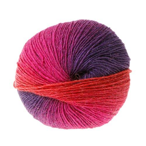 1 bola 50 g de hilo suave arcoíris, hilo de mezcla de lana de cachemir de ganchillo colorido...
