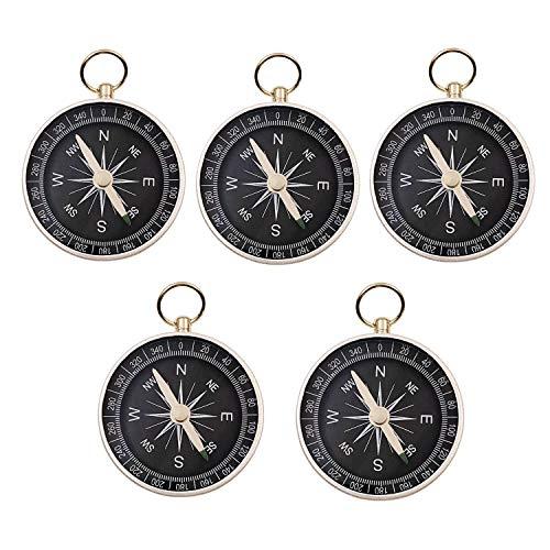 JZK 5 x 44mm kleine Aluminiumlegierung Kompass mit Schleife Oben Drauf für Schlüsselring Anhänger, Geburtstag Partei bevorzugt Geschenke für Kinder
