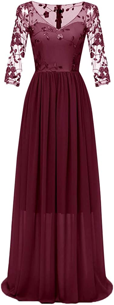 iLUGU Bodycon Maxi Dress for Women Deep Sleeve Washington High material Mall Long Lace V-Neck