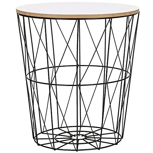 SPRINGOS Mesa auxiliar con tapa Ajour 45 x 40 cm (alto x ancho), tablero extraíble, cesta para periódicos, forma redonda (negro y blanco, 45 x 40 x 30,5 cm)