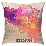 VJSDIUD Soft Belgium Map Floor Pillow Throw Pillow Funda, Cojín de Coche, Sofá, Funda de Almohada, Decoración de Interiores (45cmx45cm)