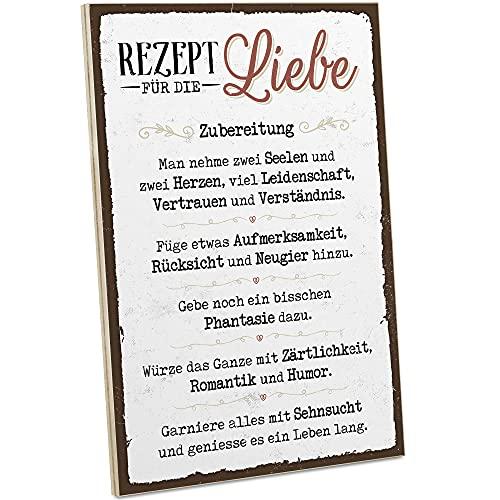 ARTFAVES® Holzschild mit Spruch - Rezept für die Liebe | Vintage Deko Schild zum Thema Liebe/Familie/Freundschaft | Shabby Chic Holzbild auch als Geschenk