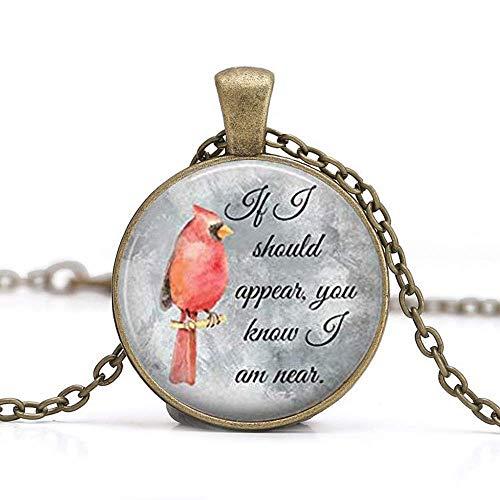 Cardinal Jewelry - Collana a forma di pappagallo con uccello rosso, rotonda, in vetro, cabochon, regalo di Natale per lui o per lei