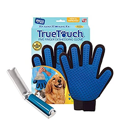 True Touch Five Finger Deshedding Glove- Premium Version, Gentle Grooming, Great Cats & Dog, Long or Short Fur- Includes 1 Authentic Right Hand True Touch & 1 Lint Roller by Allstar Products Group