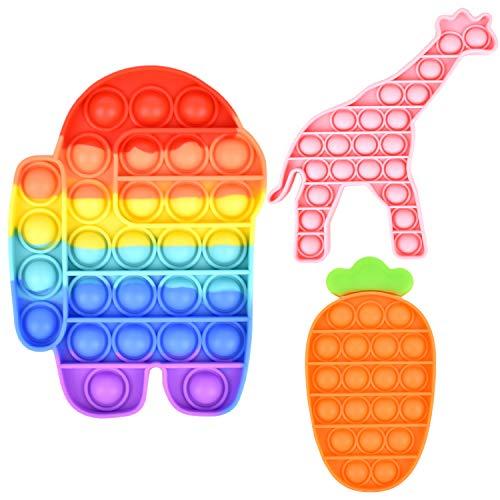 Push Pop Fidget Toy Set, Pop Bubble Fidget Toys per bambini e adulti, Among in Us Giocattolo sensoriale per alleviare l'ansia per l'autismo ADHD (Set da 3 pezzi1)