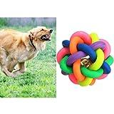 Hundespielzeug Haustier Knotenball Gummiball Wurfball Hundeball Glöckchen Ball 7cm