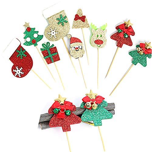 18 unidades, diseño de dibujos animados de Navidad con purpurina esmerilada para decoración de tartas, calcetines de Papá Noel, campanas de pino alce insertadas, longitud 13 cm