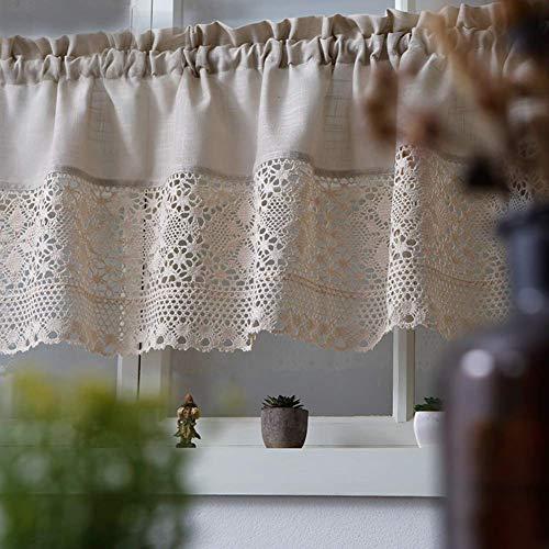 Siunwdiy Cortina de café, Cortina de Cocina, decoración a Prueba de Polvo, algodón y Lino/Crochet/Cortinas pequeñas, Puerta de Armario/Chimenea/Cortina pequeña de cafetería, 1 Pieza,A1,W140*H60cm