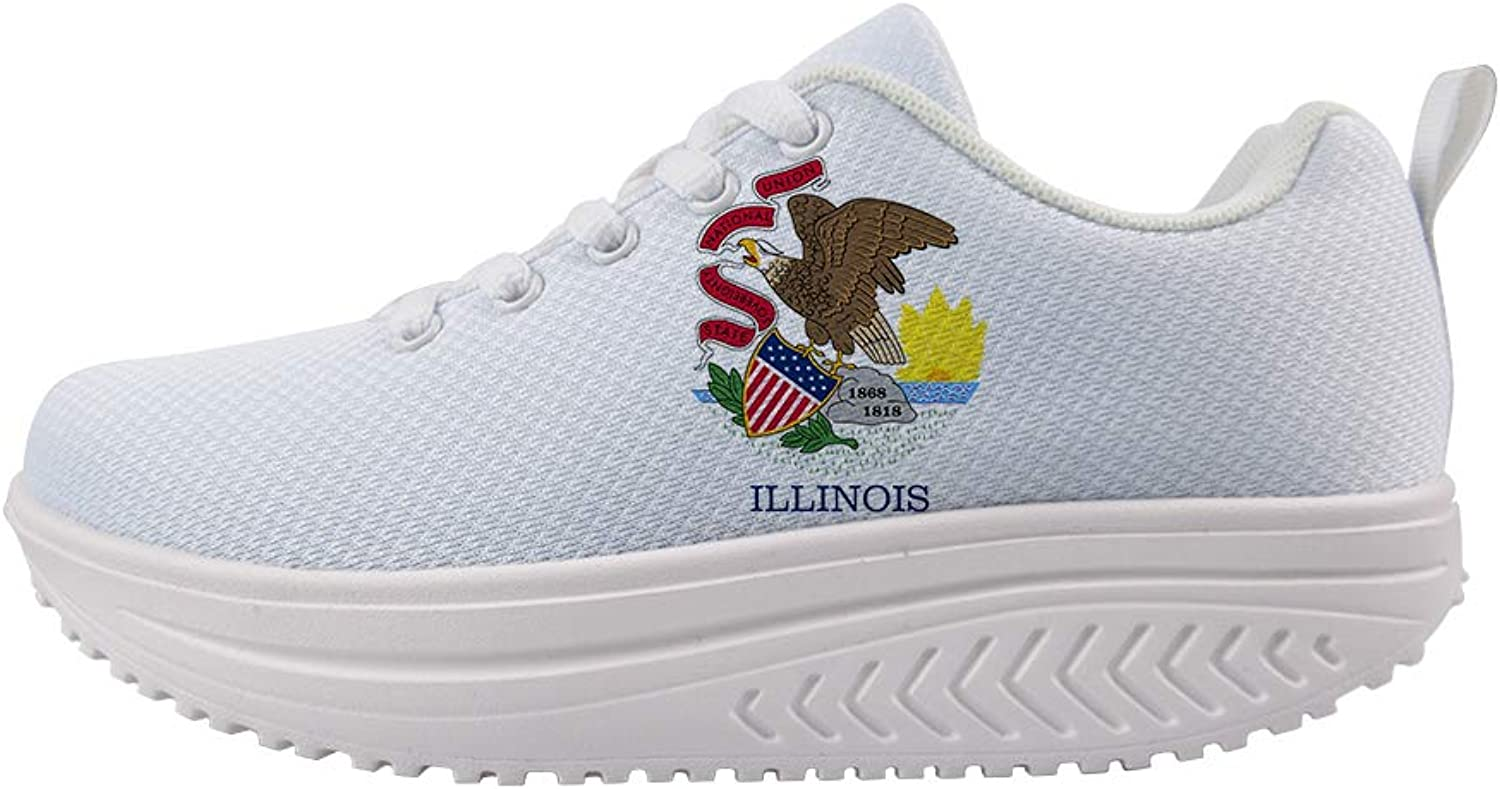 Owaheson Swing Platform Toning Fitness Casual Walking shoes Wedge Sneaker Women Illinois Flag