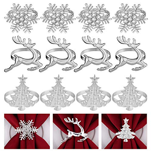 FEPITO 12Pcs Christmas Napkin Rings Set, Christmas Trees Napkin Rings, Elk Napkin Rings, Snowflake Napkin Holders for Winter Holiday Dinner Table Decorations, Christmas Party Supplies