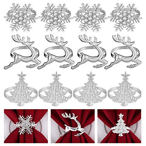 FEPITO 12Pcs Weihnachtsserviettenringe Set, Weihnachtsbäume Serviettenringe, Elch Serviettenringe, Schneeflocke Serviettenhalter für Winterferien Dinner Tischdekoration, Weihnachtsfeierzubehör
