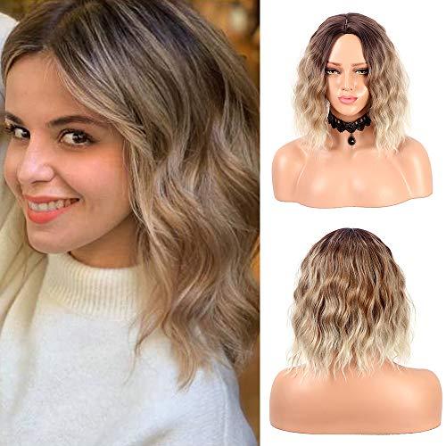 Peluca corta y rizada de Bob para mujer Moda Ombre Peluca de pelo sintético marrón fiesta rubia 14 pulgadas (4#/6/613)
