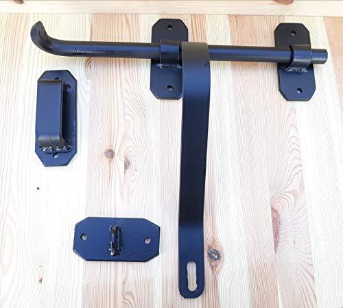 Cerrojo grande de hierro con curva modelo basico rustico Negro para puertas madera hierro etc
