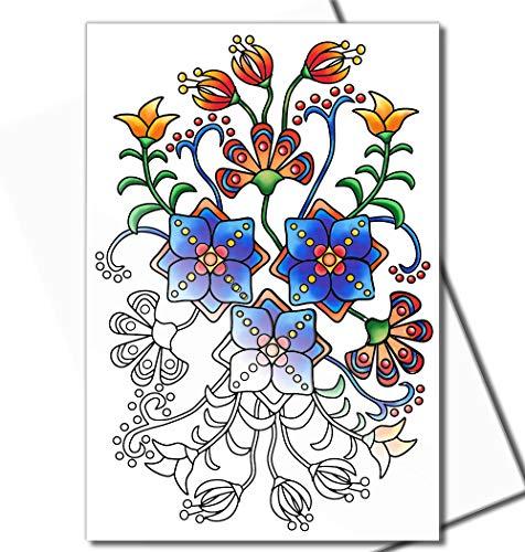 Art Eclect Geburtstagskarten zum Ausmalen, für Erwachsene oder jeden Anlass, einzigartige Designs inklusive Umschläge Deco/White - 20 Karten