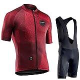YouthRM Kit de Ropa de Bicicleta para Hombre Conjunto de Jersey de Ciclismo con Correa Camisa de Bicicleta Cremallera Transpirable y Absorbente con Ropa de Gel 20D de Manga Corta,Red,Small