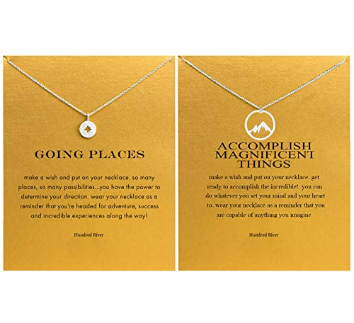 Hundred River Friendship Mountain Necklace Compass Necklace Outdoor Gift with Message Card Gift Card (Silver Mountain Necklace Compass Necklace)