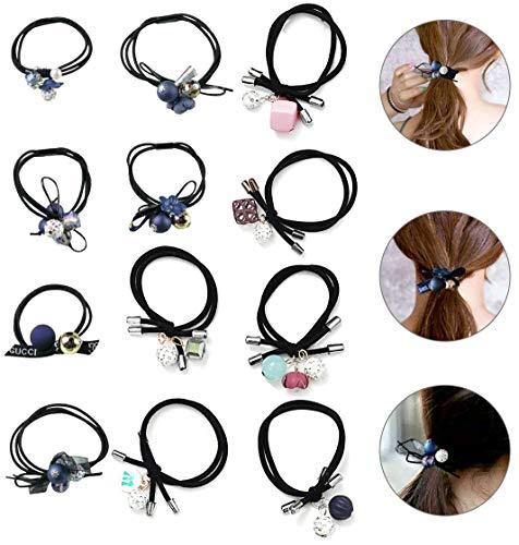 kitchen-dream Elastic Hair Ties Set,12PCS Haar Elastische Haargummi,modischen Haarseilen,Pferdeschwanz-Haarbändern,geeignet für Mädchen,Kinder,Frauen,perfektes Styling und passende Artikel
