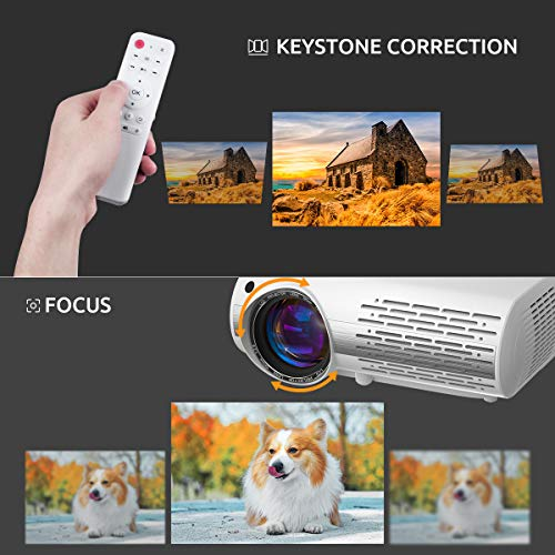 Crenova Home Video Projector, 6800 Lux Full HD Movie Projector, 200' Display LED Outdoor Projector 1080P Supported, Home Theater Projector Compatible with TV Stick, PS4, Phone, Laptop