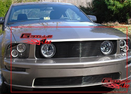 APS Compatible with 2005-2009 Ford Mustang GT V8 Billet Grille Combo F67731A