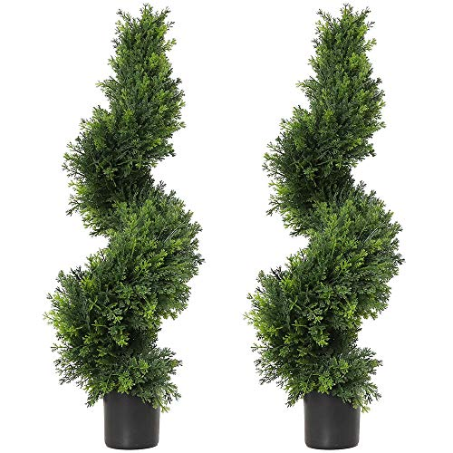 3ft Topiary Trees Artificial Plants Green Spiral Cypress Tree Potted Fake Plant...