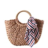 EROUGE Straw Bag Handmade Weave Tassels Handbag Multiple Decoration Options Hobo Bags (Brown with ribbon)
