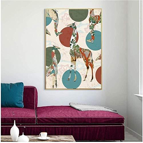 Canvas print,Vintage klassieke kunst huisideeën Retro Nordic Art Poster patroon Giraffe Home Decor Wall Art Decor-50x70cm