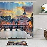 ShopHM Juegos de Cortinas de baño con alfombras Antideslizantes, Italia Vaticano Roma Ver en The Evening Landmark Viajes Italiano Destino Imagen Imprimir,con 12 Ganchos