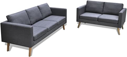 Festnight Sofa Set 5-Seater Dark Grey Fabric with Thickly Padded Cushions Four Sturdy Wooden Sofa Legs Simple and Stylish