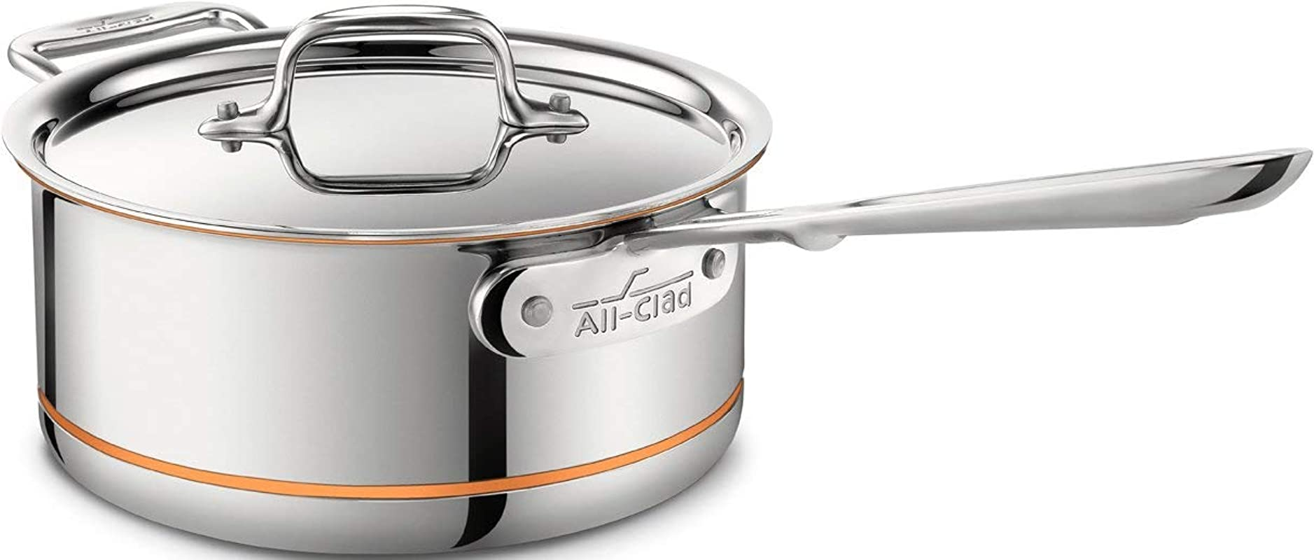All Clad 6203 SS Copper Core 5 Ply Bonded Dishwasher Safe Saucepan With Lid Cookware 3 Quart Silver