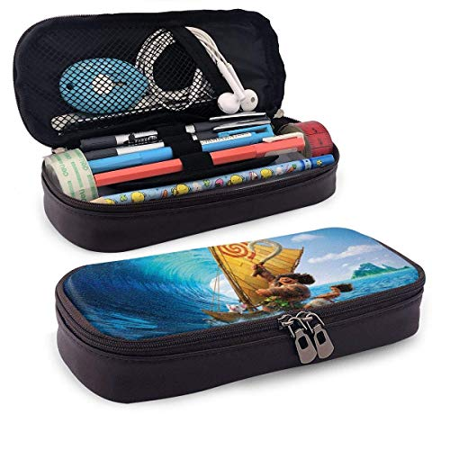 Anime Ocean Romance Moana Leather Pencil Case for Adults Girls Boys School Office Pen Case Pouch Holder Stationery PCS-1228