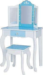 adecuado para ni/ños,Blue con taburete y espejo Tocador de tocador de madera para ni/ña
