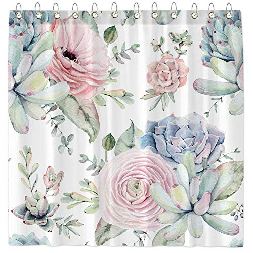 Funnytree Watercolor Succulent Plants Shower Curtain Set with Hooks Home Bathroom Bathtubs Decor Easy Care Waterproof Machine Washable Durable Polyester Fabric 72'x72'