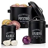 Granrosi Juego de recipientes de conserva: recipiente para patatas, cebollas y ajos en diseño vintage para un almacenamiento elegante y una larga durabilidad.