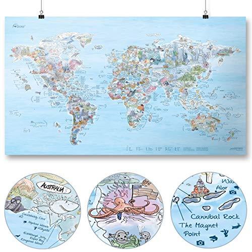 Taucher Weltkarte | AWESOME MAPS | Entdecke die 300 spektakulärsten Dive Spots der Welt (Dive Map)