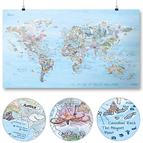 Dive Map by Awesome Maps - Mapa mundial ilustrado para los aficionados al buceo - reescribible - 97.5 x 56 cm