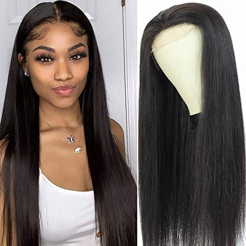4x4 Lace Front Wigs Human Hair Wigs for Black Women, 10a Straight Brazilian Virgin Human Hair Lace Closure Wigs 150% Density Pre Plucked with Elastic Bands 22inch,Straight Wig