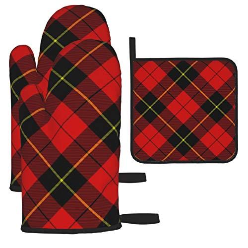 xilou Guantes de horno resistentes al calor y soportes para ollas, Wallace Tartán rojo y negro a cuadros antideslizantes con textura para cocina, hornear, asar, barbacoas, cocinar.