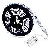 Tesfish Tiras de luces led 2 metros 120 LEDs funciona con pilas 24W SMD 5050 Impermeable 6000K Blanco Portátil Batería Luces de cuerda para Gabinete Cocina, Estante, Decoración del hogar