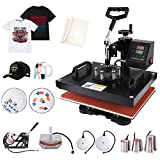 Seeutek Pro 8 in 1 Heat Press Machine 12x15 inch 360-Degree Swing Away Digital Heat Transfer Multifunction Sublimation Combo for T Shirts Mugs Hat Plate Cap