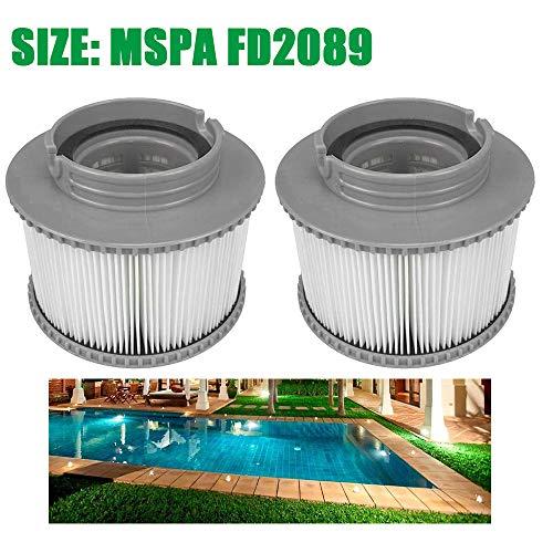 FreeLeben Packung Mit 2 Filterpatronen Für Pool, Spa Ersatz Aufblasbarer Poolreinigungsfilter Zubehör, Einfache Installation Hot Tub Antimicrobial Filter Cartridge (Size: MSPA FD2089)