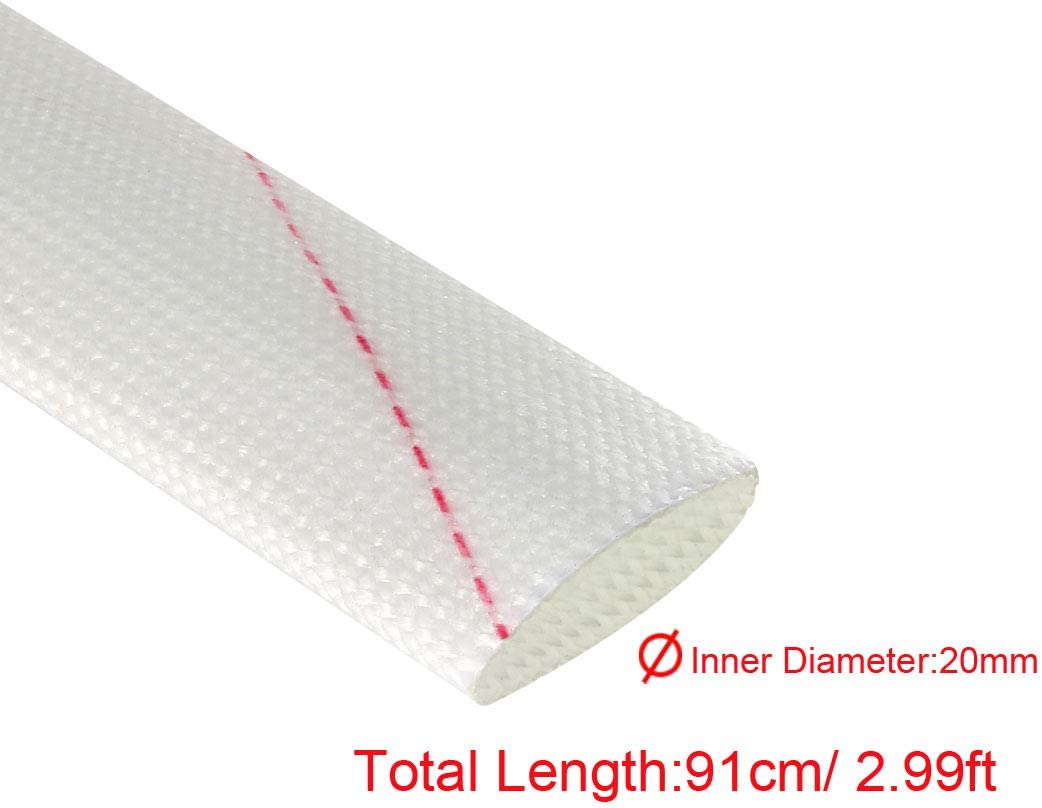 sourcing map 5 x Fiberglas-Hitzeschutzh/ülsen 20 mm Innendurchmesser x 0,9 m verstellbare PVC-Silikon-Fiberglash/ülse