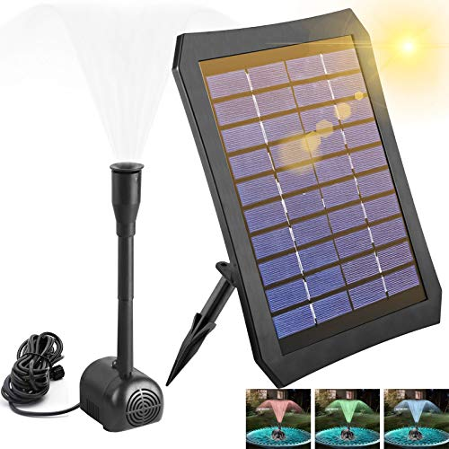 Solar Fountain, Solar Pond Pump with 3 W Solar Panel and LED Light, Solar Floating Fountain Pump with 2 Fountain Styles for Garden, Bird Bath, Pond, Fish Container