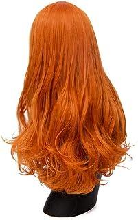 FHKGCD 24 Pouces Naturel Longue Perruque Ondulée Perruques Cosplay pour Les Femmes Cheveux Synthétiques