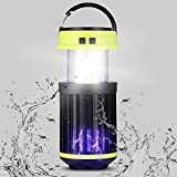 QAZW Mosquito Killer IP65 - Insecticida Eléctrico UV, Lámpara de Camping 3 en 1, Recargable por USB, Portátil de Energía Solar, Trampa para Mosquitos y Mosquitos