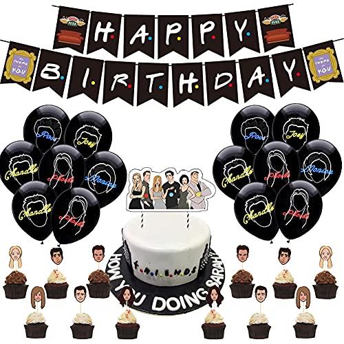 BESTZY Juego de Globos de Decoración de Cumpleaños, Decoración de Fiesta de Cumpleaños con Tema de Amigo, Sombrero de Copa, Pancarta de Feliz Cumpleaños, Globo de Látex