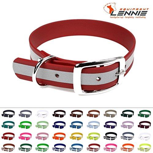 LENNIE BioThane Halsband, Dornschnalle, 25 mm breit, Größe 38-46 cm, Rot-Reflex
