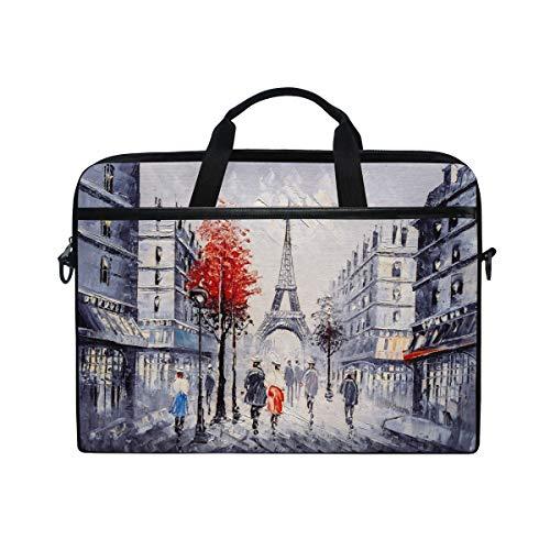 ISAOA Street View of Paris Laptop-Tasche, leicht, Schultertasche, Laptoptasche, Messenger Bag, Tasche für 14-15,6 Zoll Notebook/Computertasche für Reisen/Business